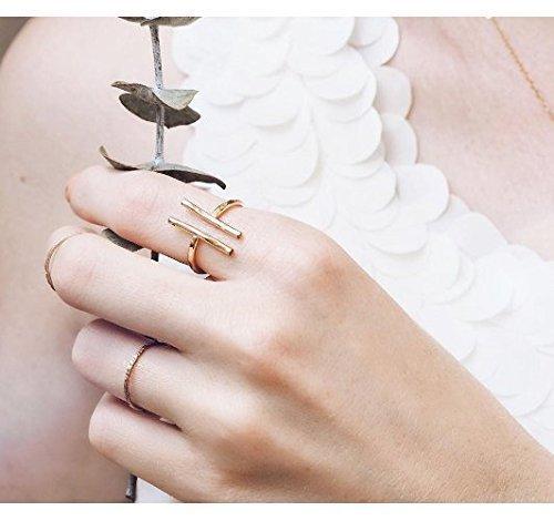 Handmade Gold Bar Ring Parallel Bar Ring Artisan Made Geometric Ring