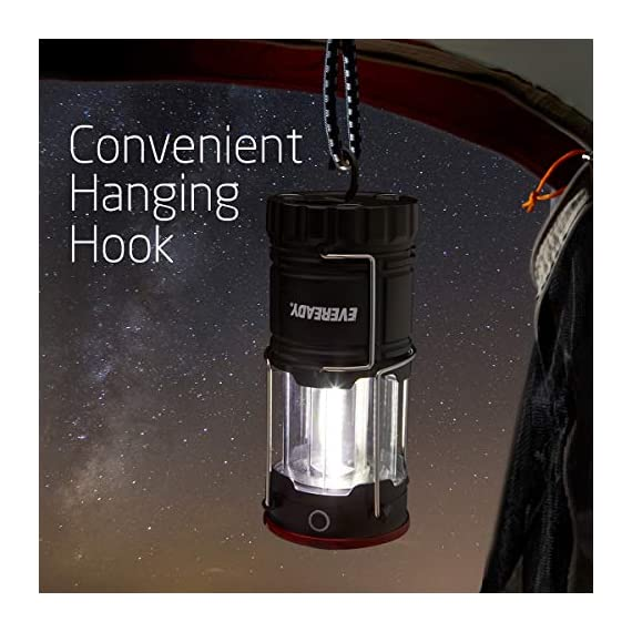 Eveready 360 led camping lantern, ipx4 water resistant, super bright, 100 hour run-time, battery powered outdoor led… 3 : includes 2 (two) eveready collapsible camping led lanterns each lantern operates with 3 aa batteries (included), so you have the power and light you need, right out of the box. : the led lantern provides super bright, white led light as a lantern, or can be used as a flashlight for directional lighting. 360 degress of room, or campsite-filling light! : use the strong magnetic base on these lanterns to mount the light, or simply hang it with the convenient base hook - perfect for hanging in tents!