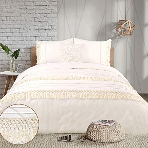 Boho Duvet Cover Set Queen Tassel Macrame Crochet Ivory Cream Elegant Pretty Cotton 100 Boho Chic Bohemian Off White Bedding Set 90x90 Textured 3Pieces Quilt Cover Fringe Beige Women