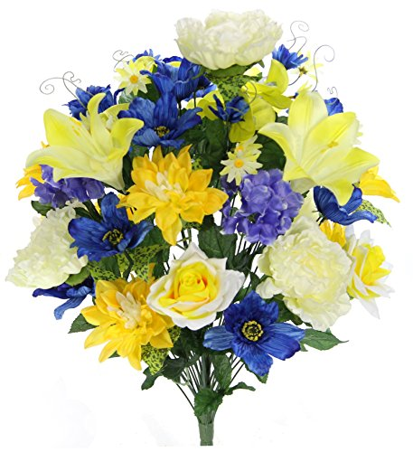 Admired By Nature GPB7315-YW/BL/CM Artificial Full Blooming Flowers, Yellow/Blue/Cream