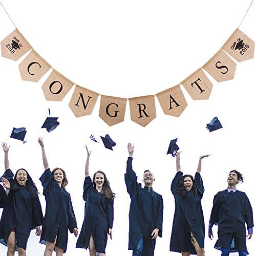 Congrats Class of 2018 - Vagski Burlap Banner Decorations for Graduation Party Supplies 2018 Classy Graduation Banner for Graduations Decorations and Grad Party Decor VAG044