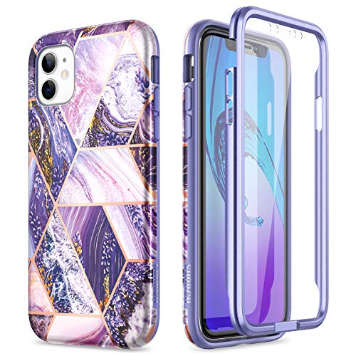 SURITCH for iPhone 11 Case with Built-in Screen Protector Front and Back 360 Degree Full Body Protection Cover Bumper Shockproof Non Slip Case for iPhone 11 6.1' (Purple)