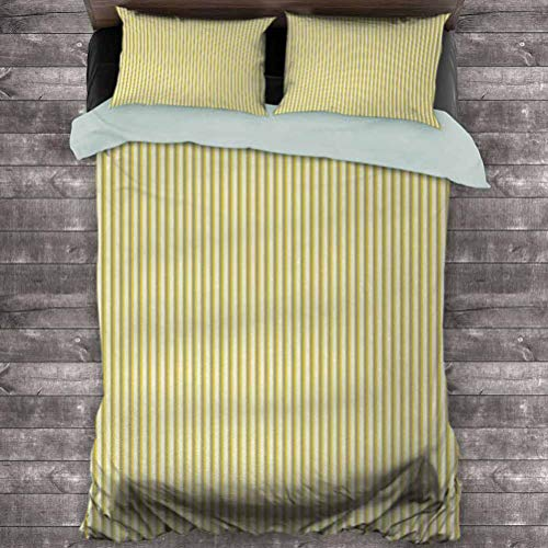 Toopeek Grey and Yellow 3-Pack (1 Duvet Cover and 2 Pillowcases) Circus Tent Inspired Vintage Retro Stripes Modern Image Polyester (Full) Light Yellow Beige and White