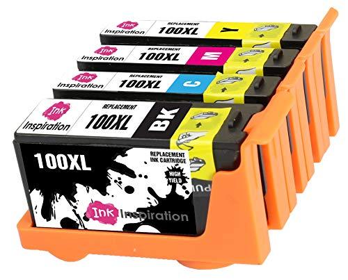INK INSPIRATION® Ersatz für Lexmark 100 100XL Druckerpatronen 4er-Pack, kompatibel mit Lexmark S305 S402 S405 S505 S602 S605 S815 S816 Pro 202 205 208 209 705 805 901 905, Schwarz/Cyan/Magenta/Gelb