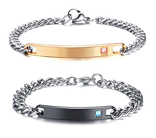XUANPAI Personalised Engraving Stainless Steel Link Bracelet Plated...