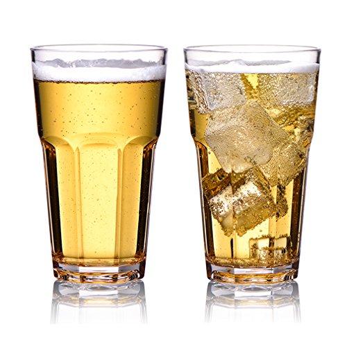 MICHLEY Unzerbrechlich Tritan-Kunststoff wassergläser, trinkglas, longdrink gläser fur Camping Party, BPA-frei 340 ml plastik Tasse 2er set