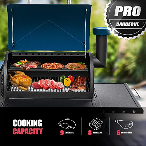 ASMOKE AS660N-1 Electric Wood Fired Pellet Grill and Smoker 700 sq in, Pack of 5 BBQ Kit, Safe Certification,8 in 1 Outdoor Cooking BBQ Cooker, PID Control Temperature,Front Shelf ,25.8lbs Large Hopper