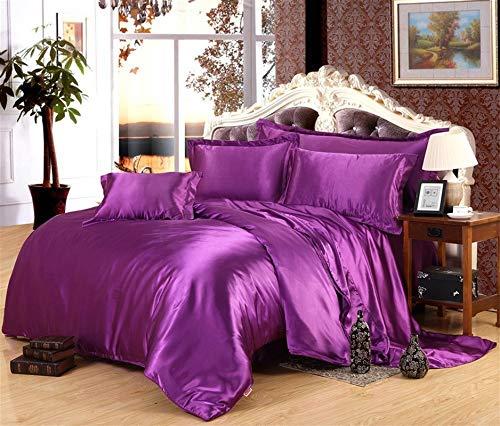 Xtream Fabric Super Soft Luxurious 100% Pure Silk Satin 7-Piece Sheet Set 15'' Depth with Duvet Set (1 Flat Sheet, 1 Fitted Seet, 1 Duvet Cover & 4 Pillowcases) (Queen, Purple)