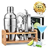 Godmorn 14 pièces Cocktail Set Bar Kit Bar Tool Set, Shaker à Martini en Acier Inoxydable de 500ml avec Support en Bois, Double Jigger, Cuillère à mélanger, 2 Verseurs, Livret de 20 Recettes