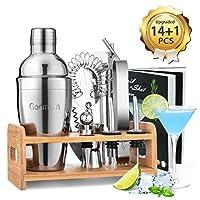 Photo Gallery godmorn cocktail shaker set,14 + 1 pezzi kit da barman in acciaio inox,set di strumenti bar,550ml shaker con accessori, supporto bamboo aggiornato + spazzola pulita, ricetta