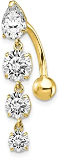 Best gold dangle belly bars Reviews
