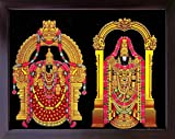 Handicraft Store Lord venkateswara and padmavathi, A Rare A Hindu Religious Poster Print with Frame for Wealth. Prosperity and Good Luck at Home/Work Place