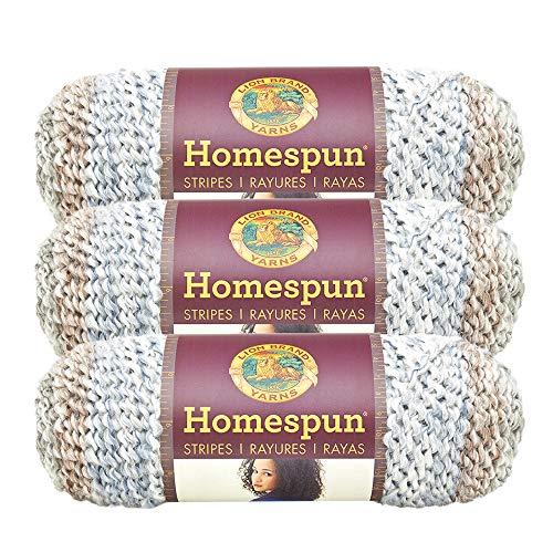 (3 Pack) Lion Brand Yarn 790-225D Homespun Yarn, Beachside Stripes