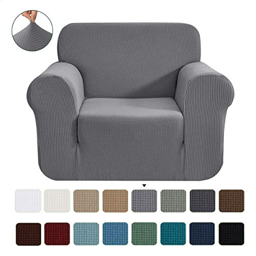 CHUN YI 1-Stück Jacquard Sofaüberwurf, Sofaüberzug, Sofahusse, Sofabezug für Sofa, Couch, Sessel, mehrere Farben (Hellgrau, 1-sitzer)