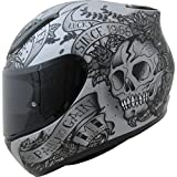 MT Revenge Skull & Roses Motorcycle Helmet S Grey Black
