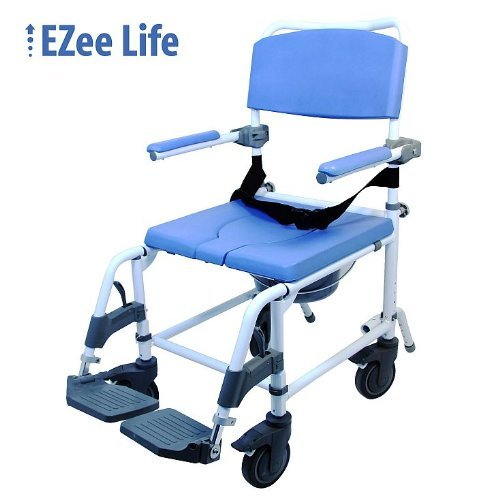 EZee Life Aluminium Wheeled Commode and Shower Chair with Adjustable Seat Height - 18
