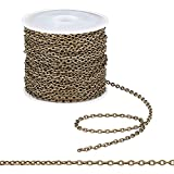 Pandahall 10m(32 ft) Iron Cross Chain O-Shaped Chain Antique Bronze Cable Chains Jewelry Making Chains for Necklace Jewelry Accessories DIY Making-3x2x0.5mm