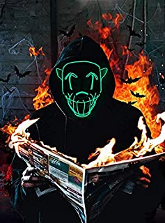 """Led Mask Halloween Light Up Mask for Party 7.9"""" x 7.9"""""""