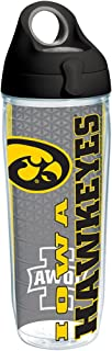 Tervis 1220459 Iowa Hawkeyes College Pride Tumbler with Wrap and Black with Gray Lid 24oz Water Bottle,  Clear