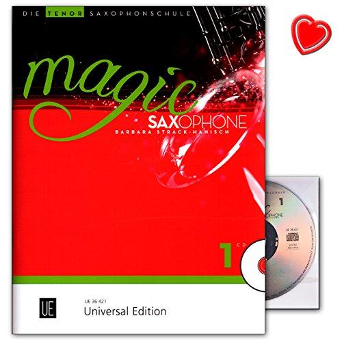 Magic Saxofoon Band 1 - speelse instap voor kinderen vanaf 8 jaar en jongeren en volwassenen - Tenorsaxofoonschool met CD en kleurrijke hartvormige muziekklem - UE36421-9783702473228