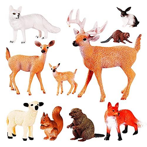 Max Fun Animal Toys 10 PCS Woodland Animals Plastic Animals Forest Figures Jungle Animals Figurines Jungle Wild Animal Figures Set Cake Toppers Kids Toys