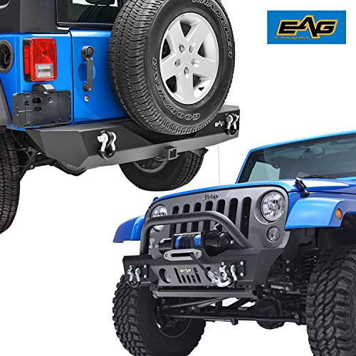 EAG Fit for 07-18 JK Wrangler Stubby Front Bumper W/Fog Light Housing and Rear Bumper W/2' Hitch Receiver Combo.