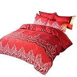 HotYou Colcha - Diseño Simple, Natural y Elegante - Múltiples tamaños Disponibles,Vino Rojo,150x200cm(1*Quilt Cover + 1*Pillowcase)