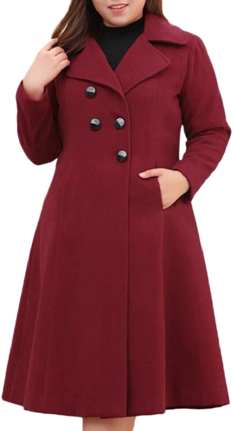 XQS Womens PlusSize Wool Blended Jacket DoubleBreasted Long Pea Coat