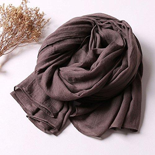 BAGEHUAN Baumwolle und Leinen Schals Frauen Winter solide Schal Dual-Use große Schals Wilden Frühling und Herbst Lange Schal Herbst und Winter, Kaffee Farbe