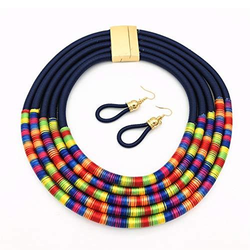 EMFGJ Gargantilla gruesa de múltiples capas, collar colorido collar hecho a mano, collar de babero, regalo para mujeres y niñas, azul