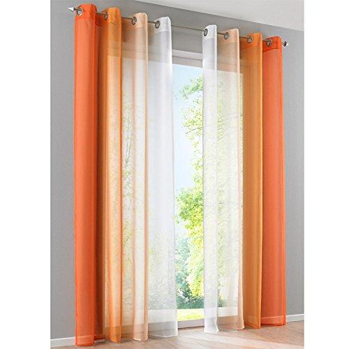 SIMPVALE Juegos de 2 Cortinas Gasa - degradados - Gasa Transparente Visillos - Ancho 140cm - Naranja con Blanco - Altura 265cm