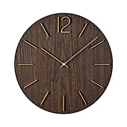 MOTINI 15.6 Round Wall Clock, Easy to Read Battery Operated Decorative Clock for Kitchen, Living Room, Office, School