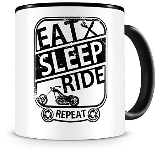 """Samunshi® Taza de café con texto en inglés """"Eat sleep repeat"""", regalo para moteros, taza de café, taza grande divertida Harley para cumpleaños, color negro, 300 ml"""