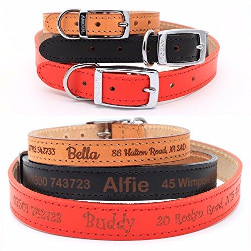 CustomDesign.Shop Personalisiertes Lederhalsband für Hund | Schaffen Sie Ihr einzigartiges Tierkennzeichen | Lasergravur (Größe 4, Rot)