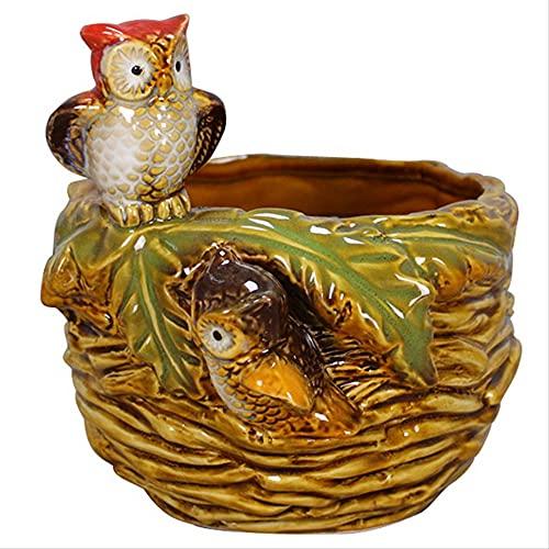 KKUUNXU Creativo de cerámica Estilo Europeo hogar Nido de pájaro Maceta misceláneas latas portalápices Adornos Cajas Decorativas artesanías Adornos