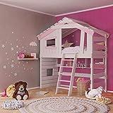 Alpin Chalet - Cama alta para niños, cama de juegos, cama de casa, madera maciza lacada en blanco/rosa, accesorios: + con estante inferior (cuadrado)