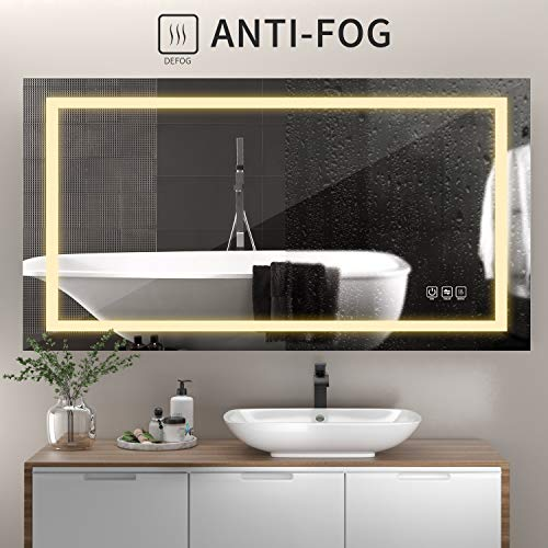 51YlQ3EVl+L - ANTEN 40x24 Inch LED Bathroom Mirror, Horizontal/Vertical Anti-Fog Bathroom Mirrors for Wall, 3000-6000K Dimmable LED Lighted Vanity Mirror