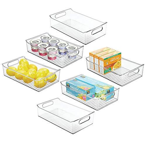 mDesign Juego de 6 cajas organizadoras con asas – Práctico organizador de frigorífico para almacenar alimentos – Contenedor de plástico sin BPA para armarios de cocina o para nevera – transparente