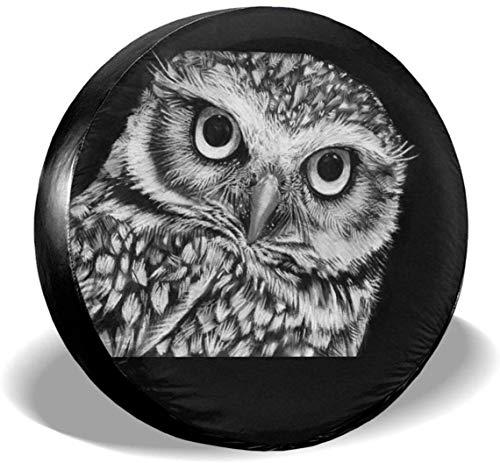 MODORSAN Owl Staring at You Cubierta de neumático de Rueda de Repuesto Cubiertas de Rueda universales de poliéster para Jeep Trailer RV SUV Accesorios de camión, 16 Pulgadas
