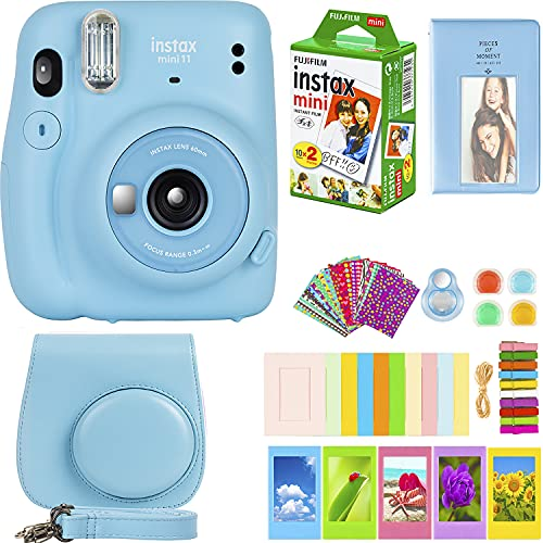 Fujifilm Instax Mini 11 Camera with Fujifilm Instant Mini Film (20 Sheets) Bundle with Deals Number One Accessories Including Carrying Case, Color Filters, Photo Album, Stickers + More (Sky Blue)