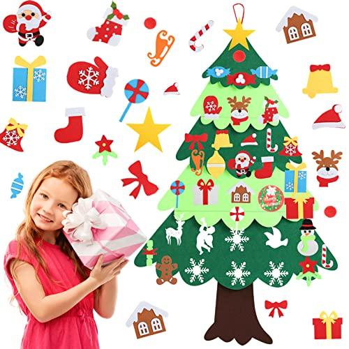 YILEEY Arbol de Navidad del Fieltro 127cm, Decoracion Navidad, Árbol de Navidad de Fieltro con 36 Adornos Extraíbles, Arbol de Navidad para niños, árbol de Navidad Simple Navidad decoración casa. ✅