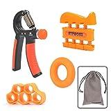 ATPWONZ Ergonomischer Hand- & Unterarmtrainer, einstellbar 10-40kg, 4er Handtrainer Set, Fingertrainer für Fitness, Krafttranieren, Therapie, Sport und Musiker