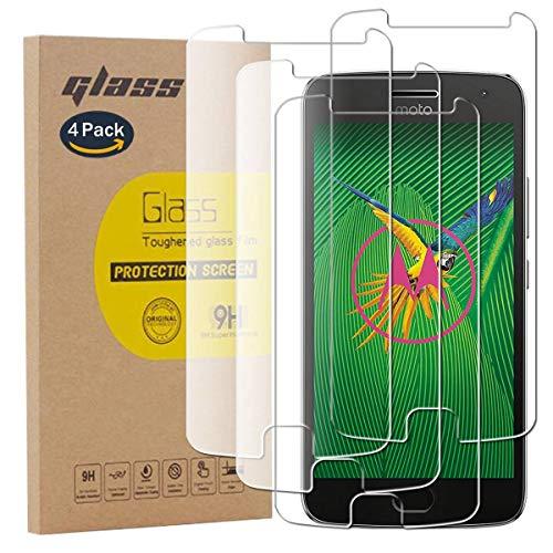 pinlu [4 Pack Protector de Pantalla de Cristal para Motorola Moto G5...