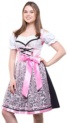 Bavarian Clothes ABVERKAUF/Sale Dirndl Set Trachtenkleid Midi SCHWARZ/ROSA Steffi (051) geblümt 3 teilig Oktoberfest Wiesn Gr 34 36 38 40 42 44 46