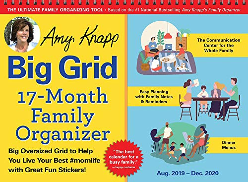 2020 Amy Knapp's Big Grid Family Organizer Wall Calendar: August 2019-December 2020