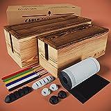 Nature Supplies Set mit 2 Kabelboxen aus Kiefernholz - 1 Klein Kabelbox als Schreibtisch-Organizer,...