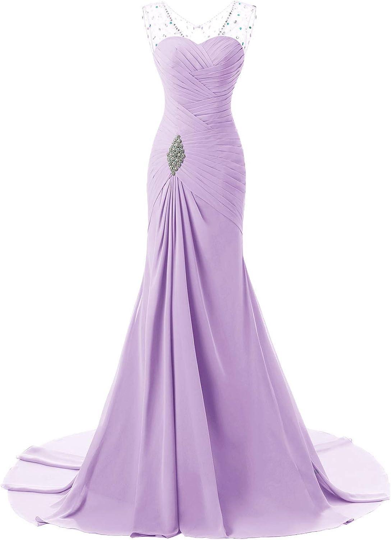 YNQNFS Women's Bridesmaids Long Dresses Sleeveless Beaded Prom Formal Evening Gowns