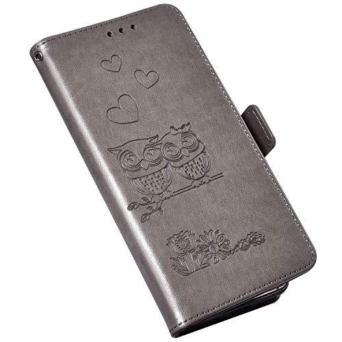 Hülle Kompatibel mit Samsung Galaxy A51 Leder Tasche,Brieftasche Flip Wallet Case Schutzhülle Handyhülle,Blumen Eule Muster Magnet Klapphülle Geldbörse mit Standfunktion für Galaxy A51,Grau