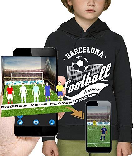 PIXEL EVOLUTION 3D animierte Kapuzenpullover Football Barcelona in Augmented Reality - Kind - größe 10 Jahre - Schwarz