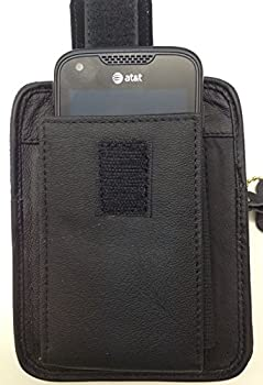 Black Leather Concealment Gun Holster Fits Ruger LCP 380 with Laser and Holds Cell Phone All-in-one